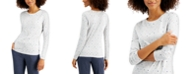 Style & Co Dot Heart Printed Long-Sleeve T-Shirt, Created for Macy's