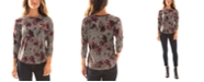 BCX Juniors' Floral-Print 3/4-Sleeve Top