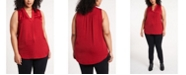 Vince Camuto Women's Plus Size V-Neck Sleeveless Blouse