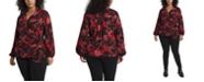 Vince Camuto Women's Plus Size Long Sleeve Tie Front Victorian Blooms Print Blouse