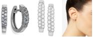 Macy's Diamond Two-Row Hoop Earrings in 14k White Gold (1/4 ct. t.w.)