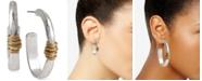 Robert Lee Morris Soho Medium Two-Tone Wire-Wrapped Oval Hoop Earrings