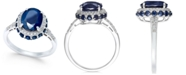 Macy's Blue Sapphire (4 ct. t.w.) and White Sapphire (1/3 ct. t.w.) Oval Ring in 10k White Gold