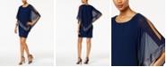 SL Fashions Metallic-Trim Capelet Sheath Dress