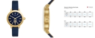 Tory Burch Women's Collins Tory Navy Leather Strap Watch 38mm