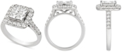 Macy's Diamond Princess Halo Engagement Ring (2 ct. t.w.) in 14k White Gold