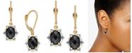 Macy's Onyx (8 x 6mm) & Diamond (1/10 ct. t.w.) Oval Drop Earrings in 14k Gold