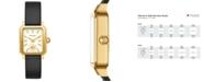 Tory Burch Women's Robinson Black Leather Roller Bar Strap Watch 27x29mm