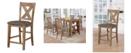 Furniture of America Roxy Weathered Natural Tone Pub Chair (Set of 2)
