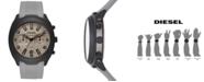 Diesel Men's Chronograph Tumbler Gray Silicone Strap Watch 48mm