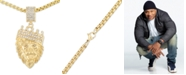 """LEGACY for MEN by Simone I. Smith Crystal Lion King 24"""" Pendant Necklace in Yellow Ion-Plated Stainless Steel"""