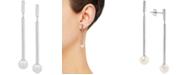 Macy's Cultured Freshwater Pearl (7mm) Drop Earrings in 14k White Gold
