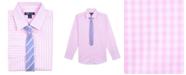 Tommy Hilfiger Big Boys Sailor Gingham Shirt & Striped Necktie Set