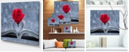 "Design Art Designart Red Rose Inside The Book Floral Art Canvas Print - 20"" X 12"""