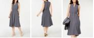 Anne Klein Printed Split-Neck Midi Dress
