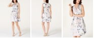 Tahari ASL Metallic Floral Jacquard Fit & Flare Dress