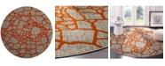 "Safavieh Porcello Light Gray and Orange 6'7"" x 6'7"" Round Area Rug"