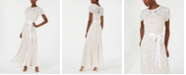 R & M Richards Nightway Petite Short-Sleeve Long Sequin Gown