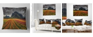 "Design Art Designart 'Beautiful Colored Tulips Panorama' Landscape Printed Throw Pillow - 16"" x 16"""