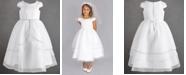 Us Angels Little Girls Organza Tulip Skirt Overlay Satin Dress