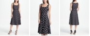 DKNY Square Neck Dot Midi Dress