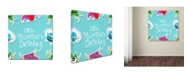 "Trademark Global Jimmy Messer 'LittleMontsterRepeat Pattern blue' Canvas Art - 35"" x 35"" x 2"""