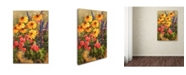 "Trademark Global Wanda Mumm 'Daises and Moss Rose' Canvas Art - 47"" x 30"" x 2"""