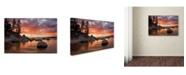 "Trademark Global Mike Jones Photo 'Sand Harbor Sunset orton' Canvas Art - 47"" x 30"" x 2"""