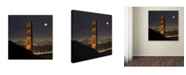 """Trademark Global Moises Levy 'Golden Gate and Moon' Canvas Art - 35"""" x 35"""" x 2"""""""