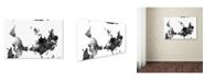 "Trademark Global Marlene Watson 'Upside Down Map of the World BG-1' Canvas Art - 12"" x 19"""