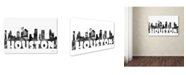 "Trademark Global Marlene Watson 'Houston Texas Skyline BG-2' Canvas Art - 12"" x 19"""
