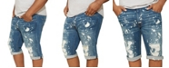 Mvp Collections By Mo Vaughn Productions MVP Collections Men's Big and Tall Painted Blue Wash Denim Short