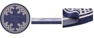 Bridgeport Home Anzu Anz3 Navy Blue 8' x 8' Round Area Rug