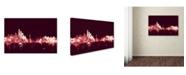 "Trademark Global Michael Tompsett 'New York Skyline Maroon' Canvas Art - 16"" x 24"""