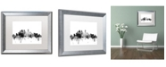 "Trademark Global Michael Tompsett 'Minneapolis MN Skyline B&W' Matted Framed Art - 16"" x 20"""