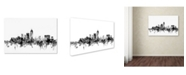 "Trademark Global Michael Tompsett 'Indianapolis IN Skyline B&W' Canvas Art - 16"" x 24"""