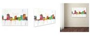"Trademark Global Marlene Watson 'New Orleans Louisiana Skyline Mclr-1' Canvas Art - 16"" x 24"""