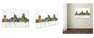 """Trademark Global Marlene Watson 'Raleigh North Carolina Skyline Mclr-1' Canvas Art - 16"""" x 24"""""""