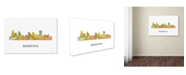 "Trademark Global Marlene Watson 'Memphis Tennessee Skyline WB-1' Canvas Art - 16"" x 24"""