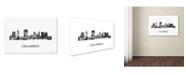 "Trademark Global Marlene Watson 'Columbus Ohio Skyline WB-BW' Canvas Art - 16"" x 24"""