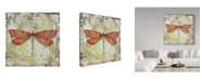 """Trademark Global Jean Plout 'Dragonfly On Tin Tile 3' Canvas Art - 18"""" x 18"""""""
