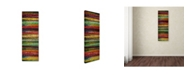 """Trademark Global Michelle Calkins 'Brocade and Stripes Tower 1' Canvas Art - 19"""" x 6"""""""