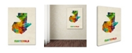 "Trademark Global Michael Tompsett 'Guatemala Watercolor Map' Canvas Art - 18"" x 24"""