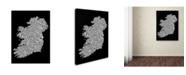 "Trademark Global Michael Tompsett 'Ireland Eire City Text Map B&W' Canvas Art - 35"" x 47"""