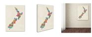 "Trademark Global Michael Tompsett 'New Zealand Typography Map' Canvas Art - 35"" x 47"""