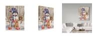 """Trademark Global William Vanderdasson 'Kitten And Puppy With Snowman' Canvas Art - 35"""" x 47"""""""