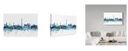 "Trademark Global Michael Tompsett 'Paris France Blue Teal Skyline' Canvas Art - 24"" x 16"""