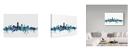 "Trademark Global Michael Tompsett 'Cleveland Ohio Blue Teal Skyline' Canvas Art - 32"" x 22"""