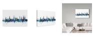 "Trademark Global Michael Tompsett 'Lubeck Germany Blue Teal Skyline' Canvas Art - 47"" x 30"""