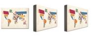 "Trademark Global Michael Tompsett 'Abstract Shapes World Map' Canvas Art - 47"" x 30"""